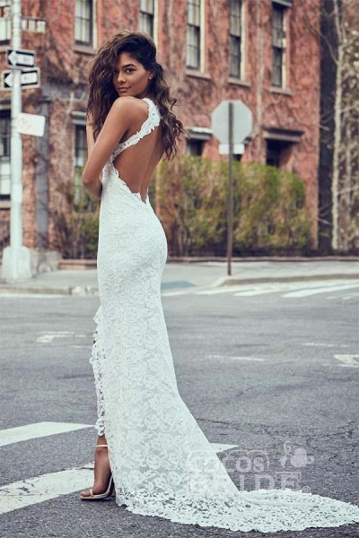 Sexy Mermaid Jewel Lace Backless With Court Train Beach Wedding Dress_2
