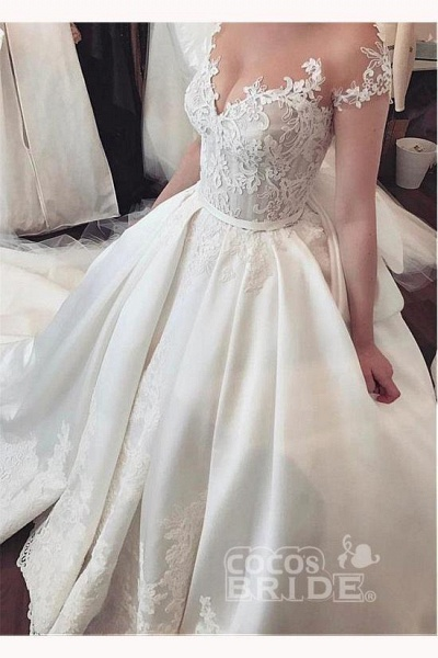 Fascinating Satin Sheer Neckline Ball Gown Appliques Bowknot Wedding Dress_3