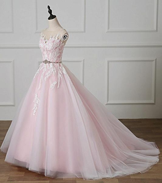 Light Pink Scoop Neck Lace Applique  Beaded Wedding Dress_3