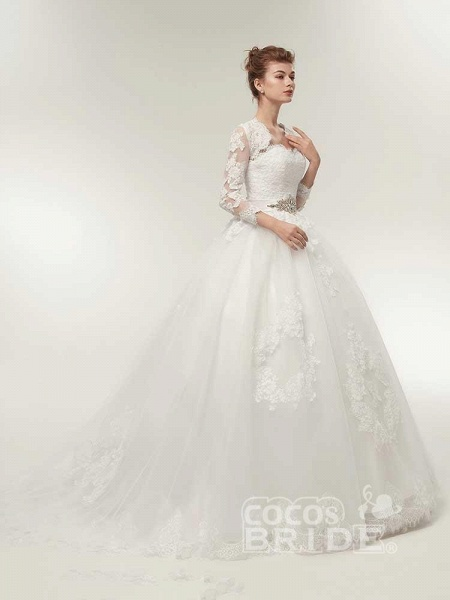 Off-The-Shoulder Lace Ball Gown Wedding Dresses_3