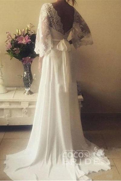 Romantic Boho V Neck Lace Appliques Chiffon Long Beach Wedding Dress_3