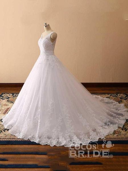 Gorgeous Spaghetti Strap V-Neck Backless Wedding Dresses_2