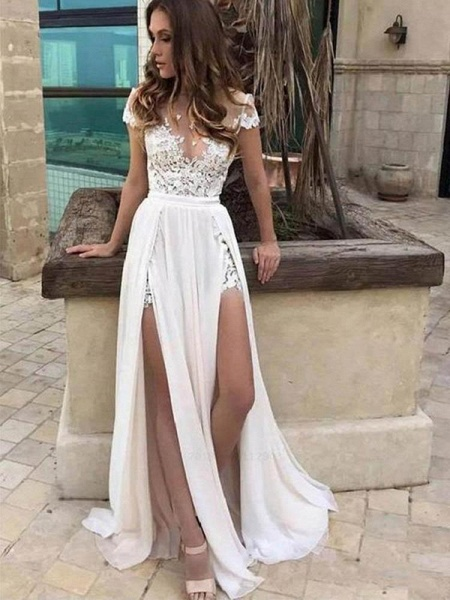 Popular V Neck Lace A-Line Wedding Dresses_1