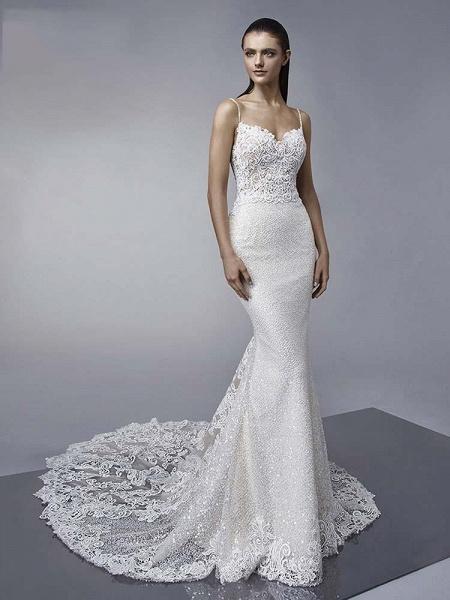 Elegant Backless Lace Mermaid Wedding Dresses_1