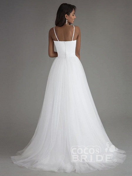A Line Spaghetti Strap Beach Wedding Dresses White Tulle Bridal Gown_3