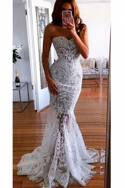 Mermaid Sweetheart Long Lace Appliques Sexy Wedding Dress_1