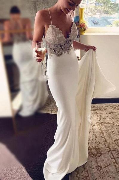 Sexy Spaghetti Straps Mermaid Long Beach Wedding Dress with Lace_1