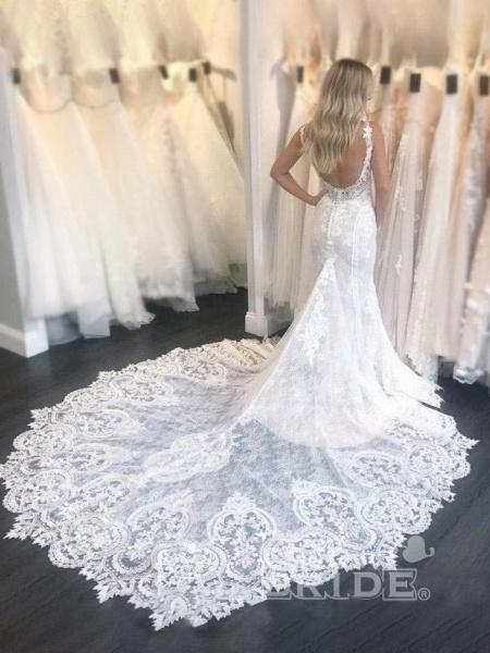 Gorgeous Straps Mermaid Train Lace Wedding Dress_2