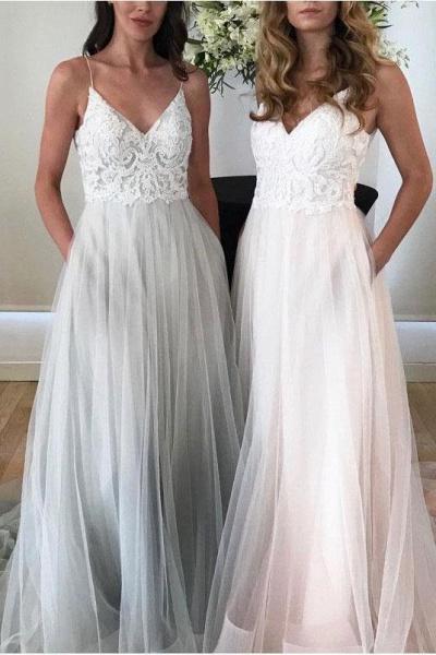 Spaghetti Strap Beach V Neck Tulle Long Wedding Dress_1