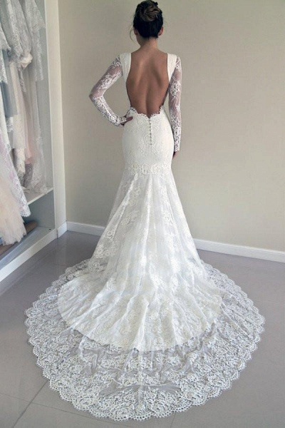 Long Sleeves Open Back Lace with Train Mermaid Beach Wedding Dress_1