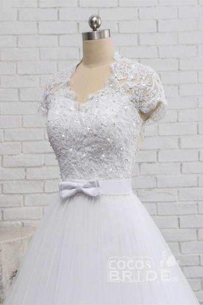 Elegant Short Sleeves Lace Beaded Tulle Wedding Dresses_4