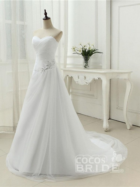 Gorgeous Strapless Ruffle Beaded Tulle Wedding Dresses_3