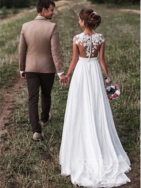 Vintage Cap Sleeves Lace Ruffles A-Line Wedding Dresses_2