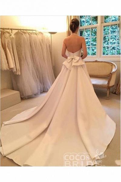 A Line Halter Satin Simple Backless Sleeveless Wedding Dress with Bow_3
