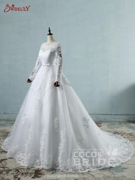 Elegant Long Sleeves Corset lace up Wedding Dresses_2