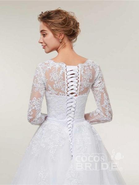 Glamorous Long Sleeve Lace Ruffles Wedding Dresses_6
