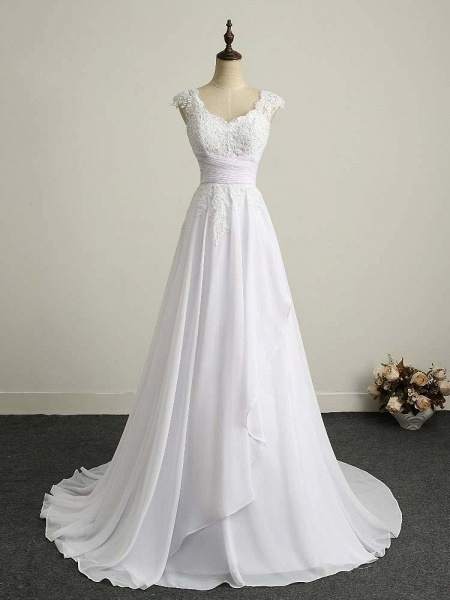 Appliques V-Neck Lace-Up Chiffon Wedding Dresses_1