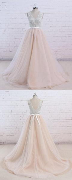 Blush Pink Tulle Ivory Lace V Neck Vintage Wedding Dress_3