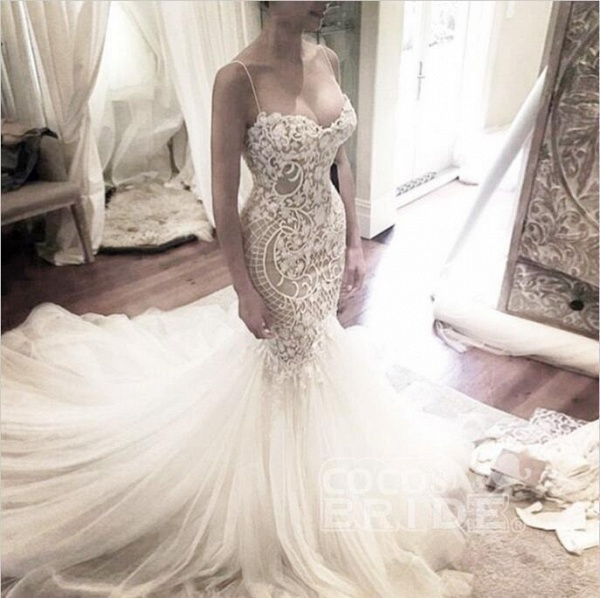 Ivory Mermaid Backless Spaghetti Straps Court Train Lace Tulle Wedding Dress_2