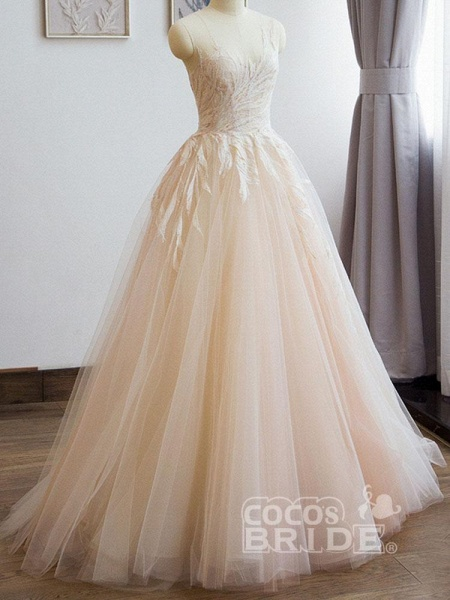 Elegant Lace A-Line Tulle Wedding Dresses_2