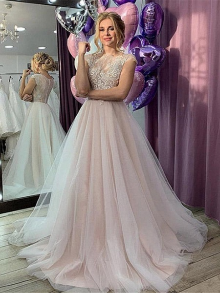 Romantic Short Sleeve Lace A-Line Wedding Dresses_1