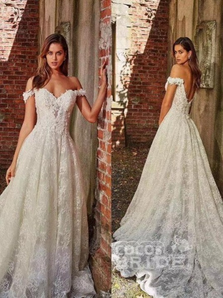 off-the-Shoulder Full Lace Wedding Dresses A-Line Lace Appliques with Court Train_3