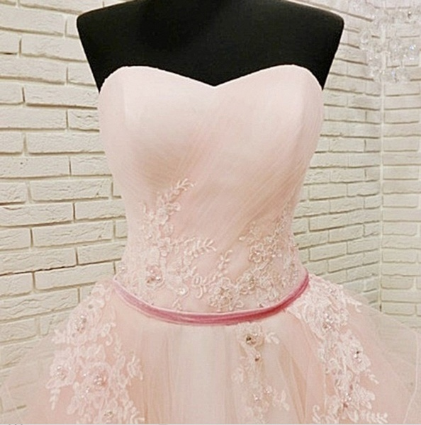 Unique Pink Tulle Long Corset Plus Size Wedding Dress_2