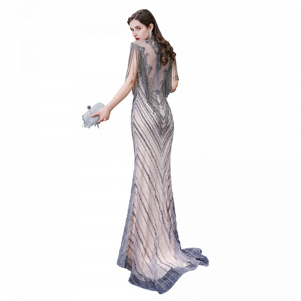 High Neck Cap sleeves Sparkle Beads Long Prom Dresses_10