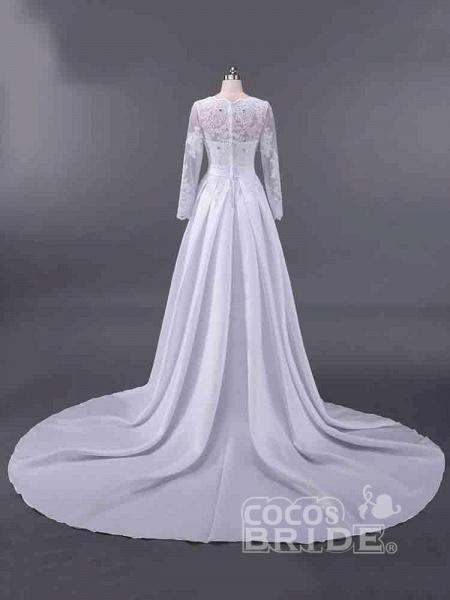 Elegant V-Neck Long Sleeves Lace Ruffles Wedding Dresses_2