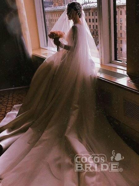Simple Jewel Long Sleeve A-line Wedding Dresses_4
