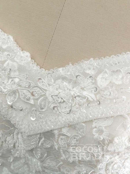 Gorgeous Off-The-Shoulder Lace Ball Gown Wedding Dresses_4
