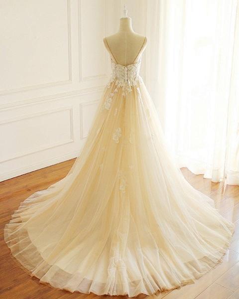 Sweetheart Creamy Tulle Spaghetti Sweep Train Wedding Dress_2