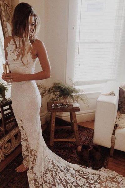 Awesome Lace Open Back Beach Mermaid Wedding Dress_1