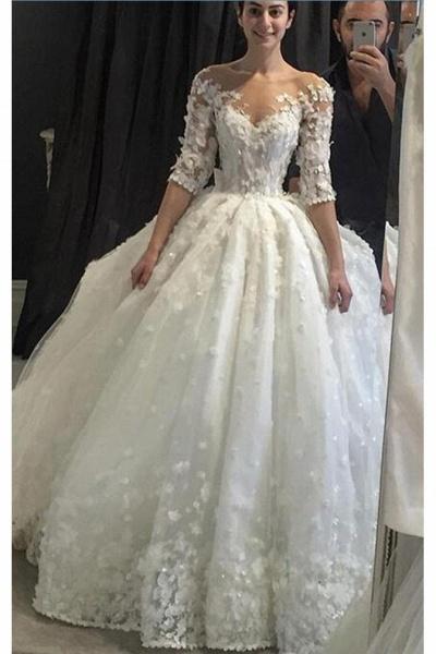 Vintage Appliqued Half Sleeve Flowers Ball Gown Luxury Tulle Wedding Dress_1