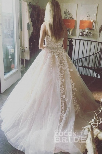 Custom-made Lace Appliques Tulle Long Wedding Dress_4