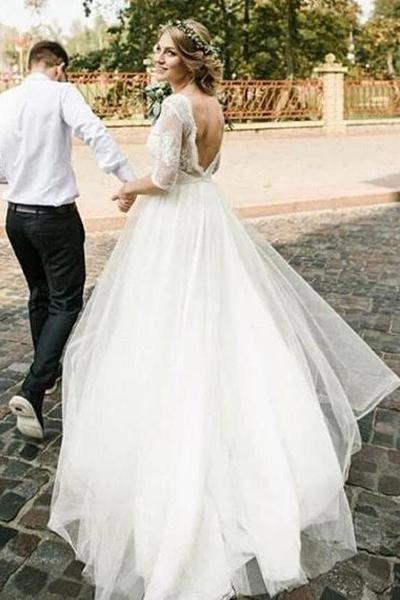 Puffy Half Sleeves Backless Floor Length Long Beach Wedding Dress_1