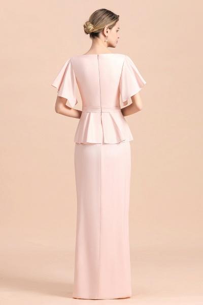 Glamorous V-Neck Beadings Sash Pink Mother of Bride Dresses_3