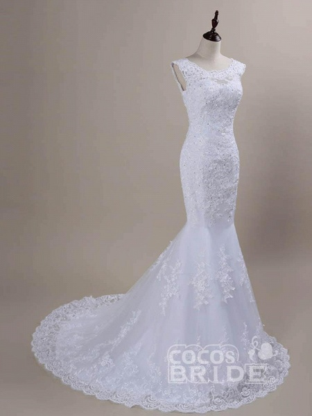 Beaded Lace Backless Mermaid  Wedding Dresses_2