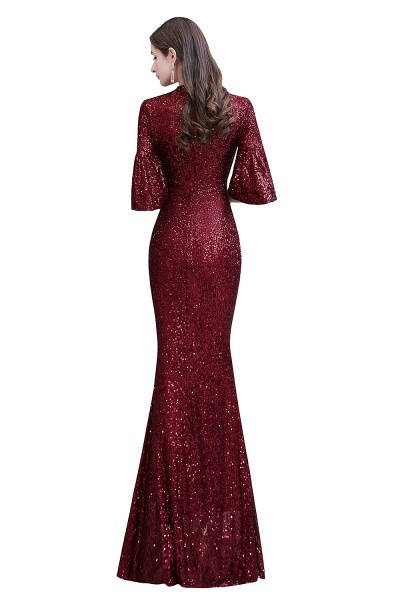 Burgundy Short Sleeve Sequins Long Prom Dress_14