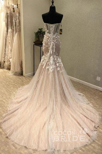 Gorgeous Sweetheart Mermaid Lace Appliqued Strapless Wedding Dress_2
