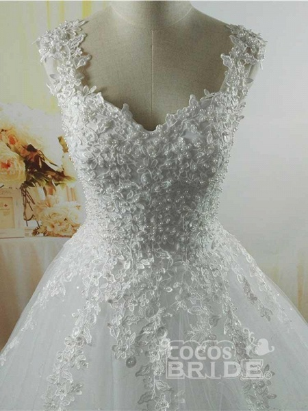 Pearls A-Line Tulle Wedding Dresses_3