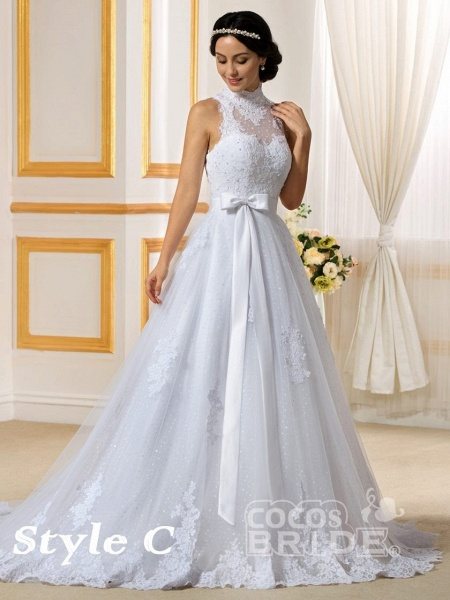 Lovely Lace Mermaid Wedding Dresses With Detachable Skirts_6