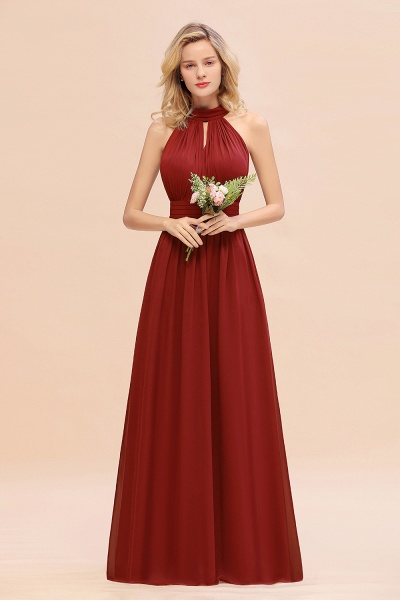 BM0758 Glamorous High-Neck Halter Bridesmaid Affordable Dresses with Ruffle_48