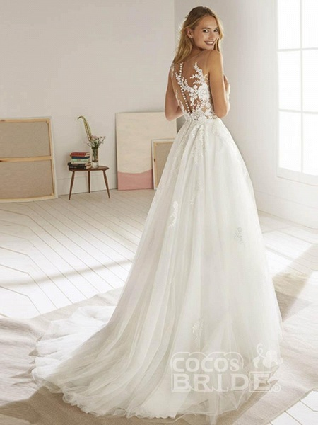 Romatic Lace Tulle Wedding Dresses_3