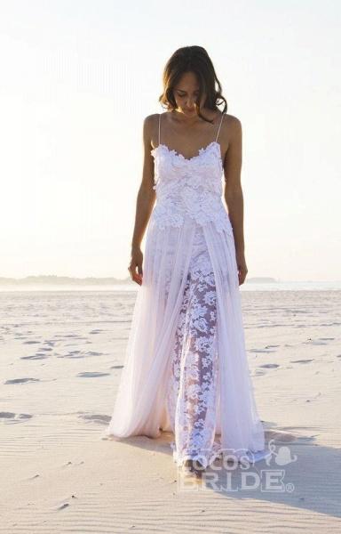 Sexy Backless Beach Spaghetti Summer Wedding Dress_7