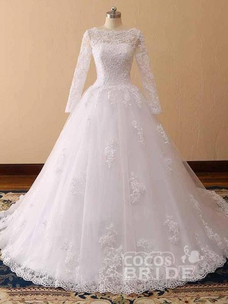 Long Sleeves Lace Tulle Mermaid Wedding Dresses_5