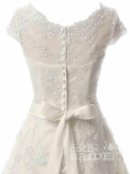 Glamorous Cap Sleeves Covered Button Ribbon Wedding Dresses_5