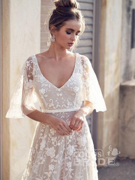 Cheap V Neck Half Sleeve Lace Boho Wedding Dresses_3