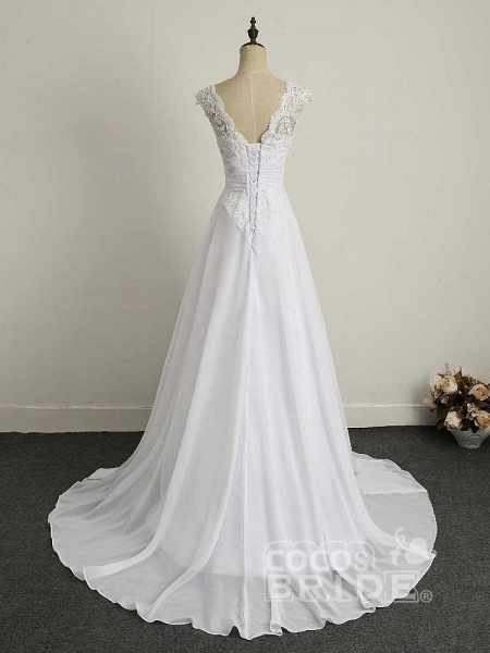 Appliques V-Neck Lace-Up Chiffon Wedding Dresses_2