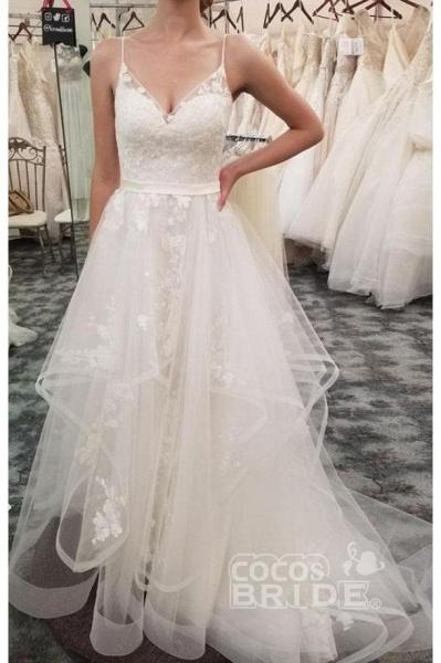 Spaghetti Straps Beach Tulle Appliques Wedding Dress_2